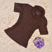 Женский темно-коричневый гольф с короткими рукавами, размер XS-S