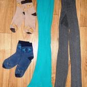 4 вещи 92-104см: 2 пары колгот + 2 пары носков (Primark + Белорусский трикотаж)