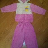 Костюм травка штаны кофта розовый теплый 1,5-2,5 года