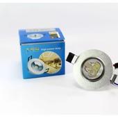 Светодиодный LED светильник 3W ватт , точечный врезной потолочный
