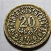 Монета. Тунис. 20 миллим 1960 года.