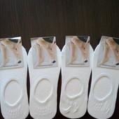 Белые носки следы супер качества размер 37-41, с силиконовыми вставками на пятке