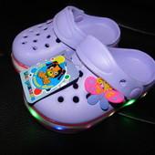 Шалунишка! Светящиеся кроксы для девочек 24-29р! Фото реал мои!