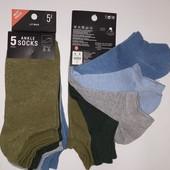 Lefties!Летние короткие подростковые носочки под кроссовки! р М (37-39) 5 пар в упаковке