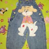 Красивый яркий джинсовый комбинезон для крохи