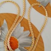 не пожалеете! шикарная цепочка, необычное и красивое плетение 50 см, позолота 585 пробы
