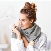 ☘Тёплый вязаный шарф-шаль от Tchibo(Германия), размеры: 175 на 65 см