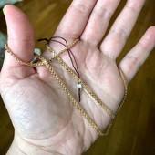 Новый жгут,редкое квардатное плетение,позолота 585 проба,длина 45 см
