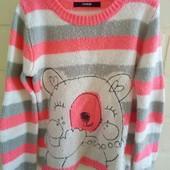 теплый фирменный свитер george на девочку 5- 7 лет, яркие цвета