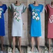 Туники— платье рр 46-64 орхидея, бабочки и жираф, цвета разные,