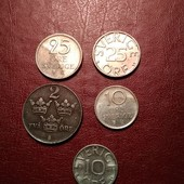 Швеция 5 монет одним лотом
