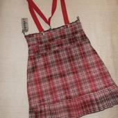 новая юбка в клетку с подтяжками