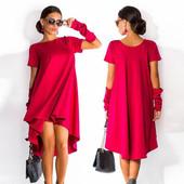 Красное платье с митенками, оверсайз 48-52 р. (Реальное фото 4).