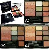 """Набор для макияжа Chanel """"Color Spirit"""" 3 в 1-тени+пудра+румяна!3 варианта палитр!"""
