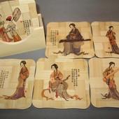 Очень красивый набор бамбуковых подставок для чашек. 6 шт в наборе