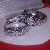 Новинка! Красивые  круглые серьги,хромированное серебро 925 пробы