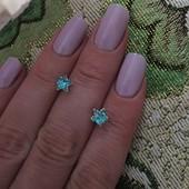 Серебряные серьги гвоздики , 925 проба