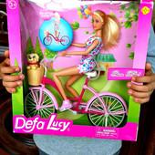 Очень красивая и дорогая Кукла DEFA  с велосипедом(30*31*10см) и собачкой