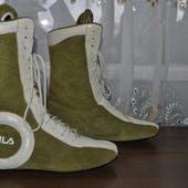 Высокие кожанные ботиночки, оригинал, Fila, р. 38 - 24.5 см.