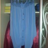 Легусенькая воздушная блузка  с сеточкой, идеально  на лето! ПОГ 47-50 см