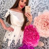 новое !!! легкое воздушное платье из нежнейшего котона декорированное вышивкой в наличии 1 шт