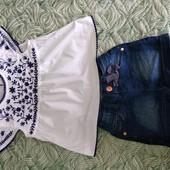 Б/у Джинсові шорти+вишита блузка(можна для двійнят є два набори) на 24-36 місяців