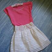 Очень красивая юбка с высокой талией и блуза на лето для девочки 10-14 л в прекрасн сост