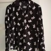 Рубашка черная с мопсами Fishbone р.S, вискоза