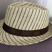 Новая плетеная шляпа трилби р.56-58 унисекс