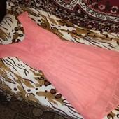Воздушное, нежное платье. Цвет персиковый. Размер S( наш  42-44).