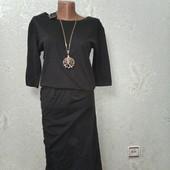 Шикарное красивое платье хаки Moss Mosh Copengagen р.S 40-42-44 пог 47 с биркой, котон