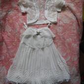 Красивенное нарядное шифоновое платье + болеро на 3-5 лет