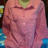 Блузка из льна кораллового цвета на 52-54(укр.)