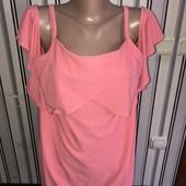 Гарненька нарядна  футболочка з відкритими плечами Dorothy Perkins для вагітних,розмір 18(пог60++)