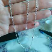 Серебряная цепочка,925 проба , 50 см , плетение  - якорь с бусинками