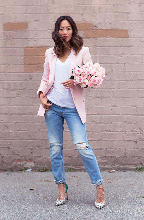 светло розовый пиджак с чем носить фото красоваться перед