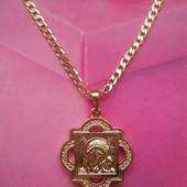 Цепочка с иконкой Божья Матерь с младенцем медсплав, покрытие золотом 585 пробы