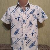 Фирменная стильная рубашка H&M (Эйч энд Эм), на 6-7лет, качественная, мерки есть