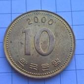 Монета Кореи 10 вон 2000