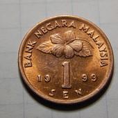 Монета. Малайзия. 1 сен 1999 года. Национальный барабан.
