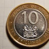 Монета. Биметалл! Кения. 10 шиллингов 2010 года.