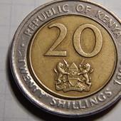 Монета. Биметалл! Кения. 20 шиллингов 1998 года.