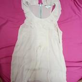 Женская шифоновая блузка- туника кремовый цвет S