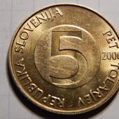 Монета. Словения. 5 толаров 2000 года. Фауна. Ибекс, или альпийский козел.