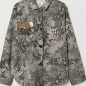 Новая!Шикарная куртка с паетками хаки H&M! под джинс 8-10 лет