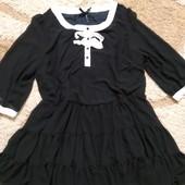 Роскошное черное шифоновое платье Next, размер 22-24. Дорогой сток!