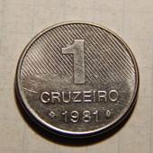 Монета. Бразилия. 1 крузейро 1981 года. Сахарный тростник.