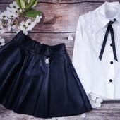 Стильная юбка из еко кожи. Чёрная 128-146