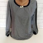 Теплый свитерок в полоску с декоративным бантиком tutu anna, разм. 46-48
