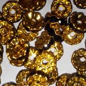 Рондели Золото 10 мм, цвет черный